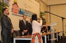 Execução do Hino Nacional no dialeto Tikuna (Foto: Conaci/Divulgação)